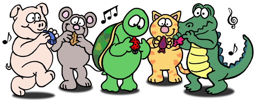 Illustration of cartoon animals playing ocarinas